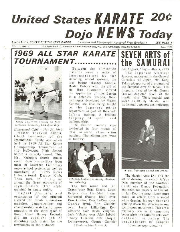 06/69 United States Karate Dojo News Today Newspaper