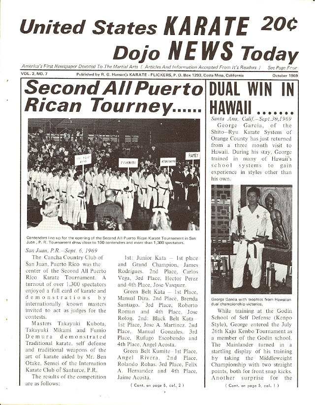 10/69 United States Karate Dojo News Today Newspaper
