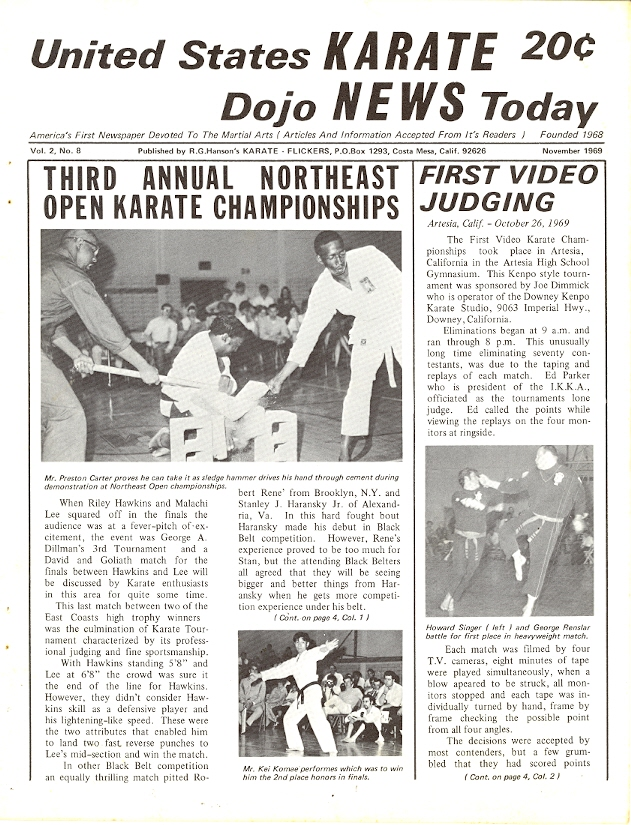 11/69 United States Karate Dojo News Today Newspaper