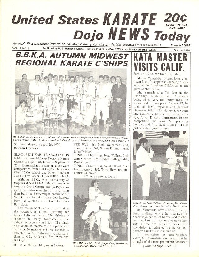 10/70 United States Karate Dojo News Today Newspaper