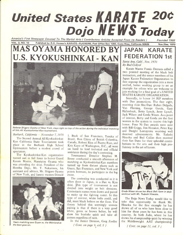 11/70 United States Karate Dojo News Today Newspaper