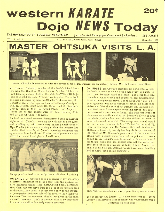 11/68 Western Karate Dojo News Today Newspaper