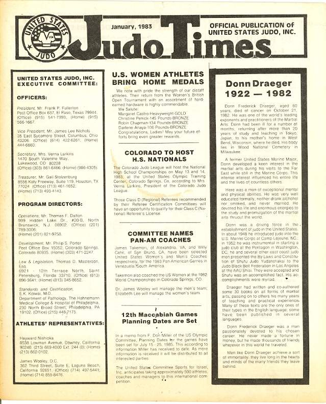 01/83 United States Judo Times